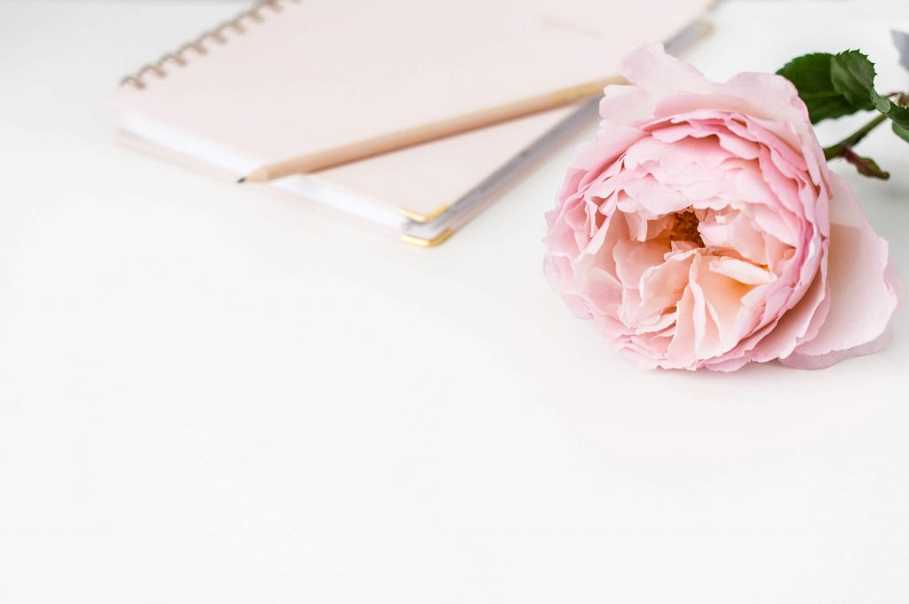 Business Coaches for Entrepreneurs - how a business coach can help you. Photo of desk with a pink rose, a notebook, and a pencil. Jessica Fearnley Business Coach.